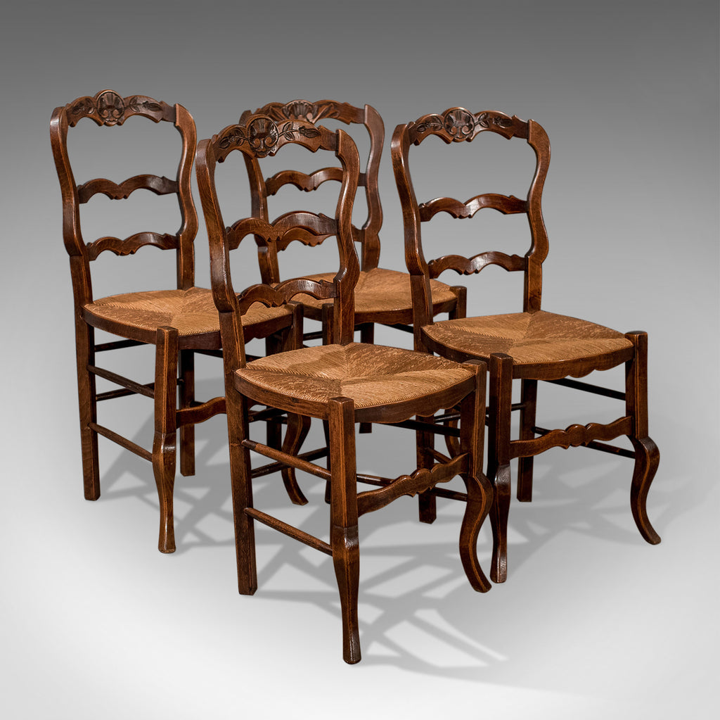 Set Of 4 Antique Dining Chairs In Dark Beech, French