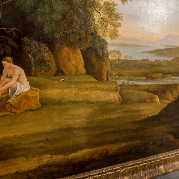 20th Century Painting, Oil on Canvas in Fine Gilt Frame, Figures in Landscape - London Fine Antiques
