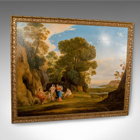 20th Century Painting, Oil on Canvas in Fine Gilt Frame, Figures in Landscape