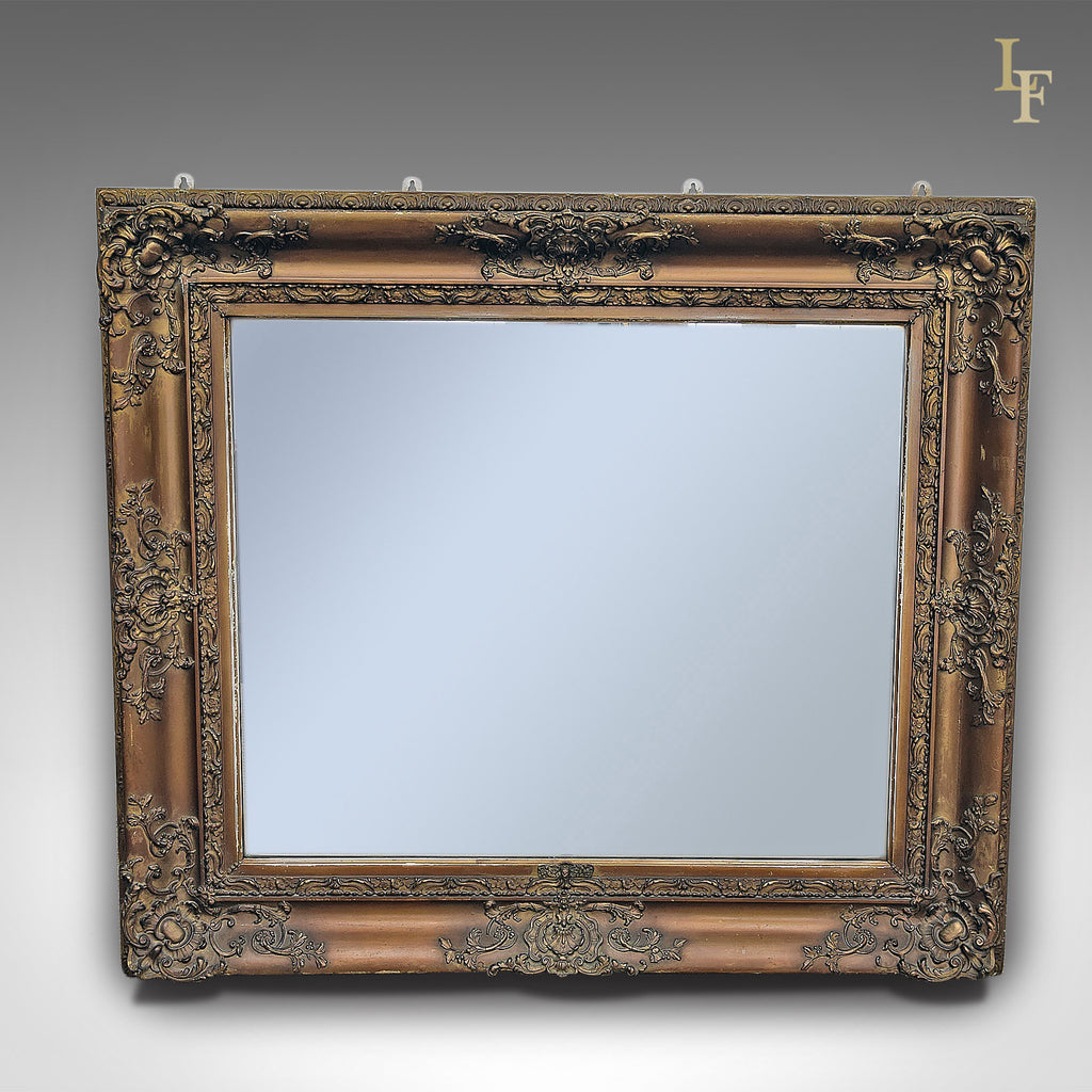 Antique Wall Mirror, Victorian, Gilt Gesso Frame, Later Plate - London Fine Antiques