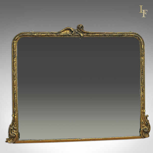 Antique Overmantel Mirror, Large, Victorian, Wall - London Fine Antiques