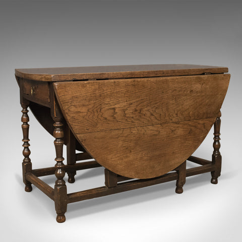 Antique Drop Leaf Dining Table, English Oak, Ovular, Six Seater, Circa 1700