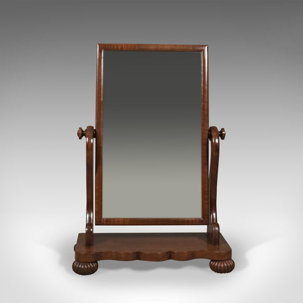 Large Antique Platform Mirror, Mahogany, English, Victorian Vanity Circa 1860