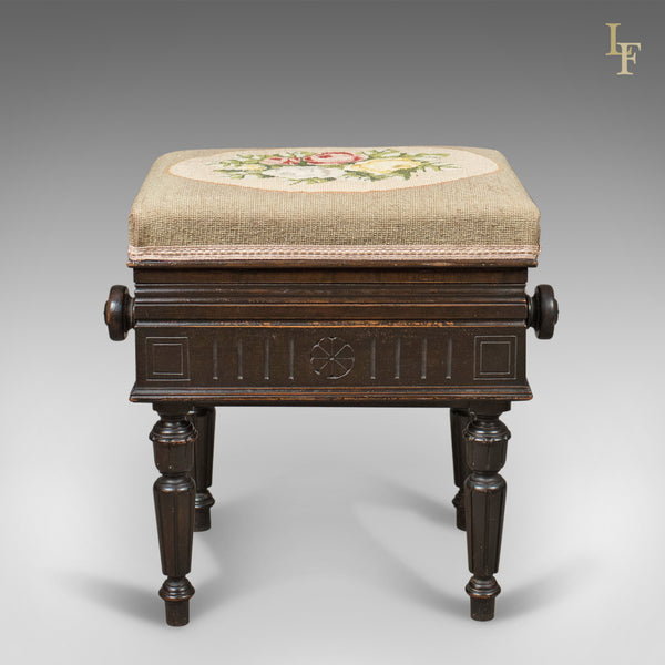 Adjustable Antique Piano Music Stool, English, Victorian, Brooks Ltd c.1880 - London Fine Antiques