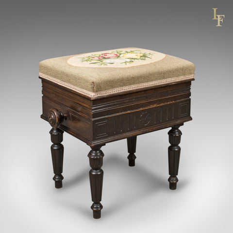 Adjustable Antique Piano Music Stool, English, Victorian, Brooks Ltd c.1880