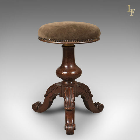 Adjustable Antique Piano Stool, Mahogany, Victorian, English c.1880