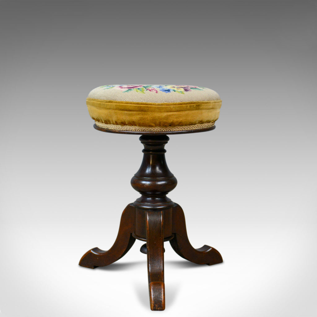 Adjustable Antique Piano Stool, English, Victorian, Walnut, Music, Circa 1880 - London Fine Antiques