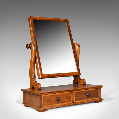 Adjustable Antique Toilet Mirror, English, Edwardian, Walnut Swing Frame c.1910