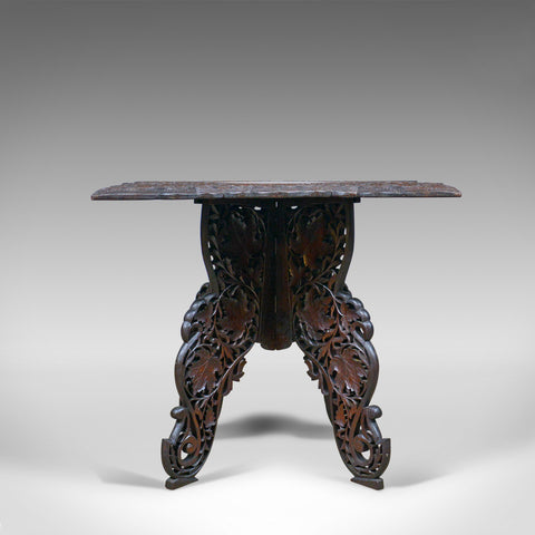 Anglo-Indian Antique Campaign Table, Carved, Teak, Side, Circa 1900 - London Fine Antiques