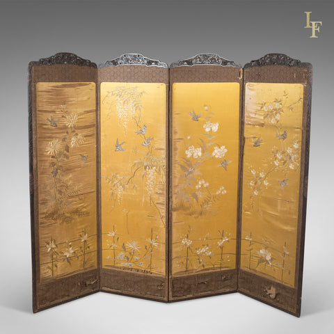 Antique 4 Fold Screen, Victorian Room Divider - London Fine Antiques