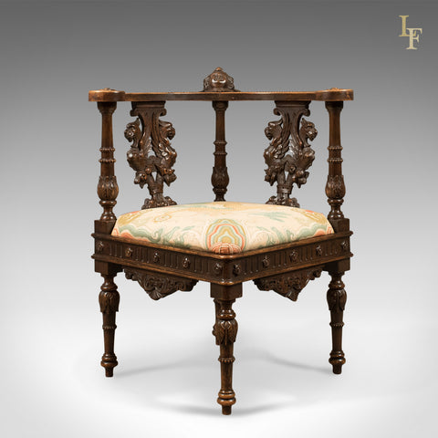 Antique Corner Armchair, Carved Victorian Chair c.1870 - London Fine Antiques