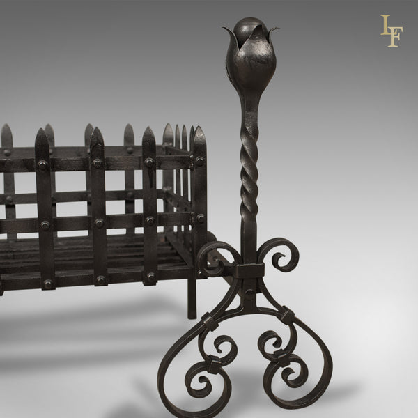 Antique Fire Basket, Large Victorian Iron Grate on Andirons c.1900 - London Fine Antiques
