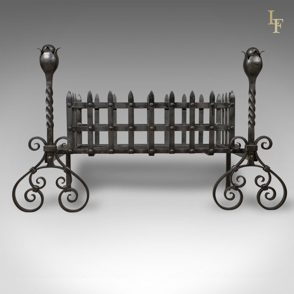 Antique Fire Basket, Large Victorian Iron Grate on Andirons c.1900