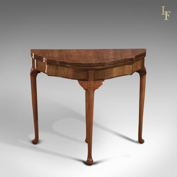 Antique Fold Over Card Table, Edwardian Walnut - London Fine Antiques
