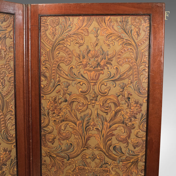 Antique Folding Screen, Victorian Walnut c.1870 - London Fine Antiques