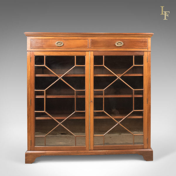 Antique Glazed Bookcase, Edwardian Display Cabinet, c.1910 - London Fine Antiques