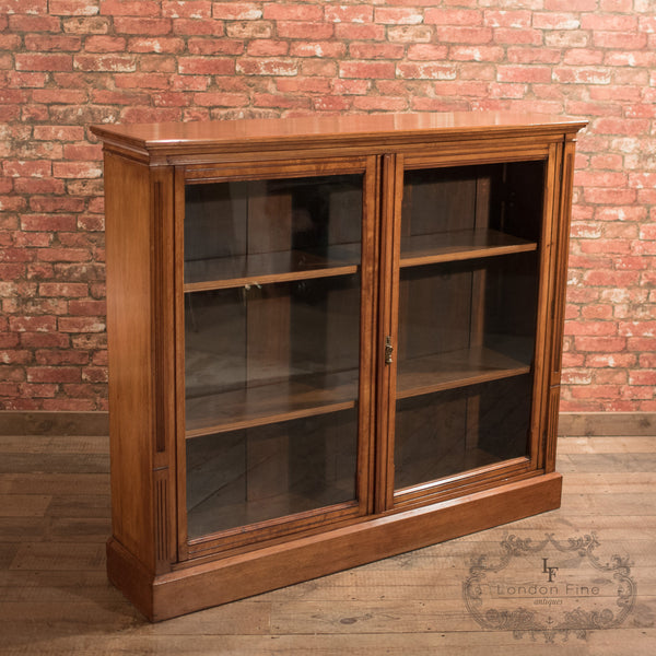 Antique Glazed Bookcase, Victorian Walnut c.1870 - London Fine Antiques
