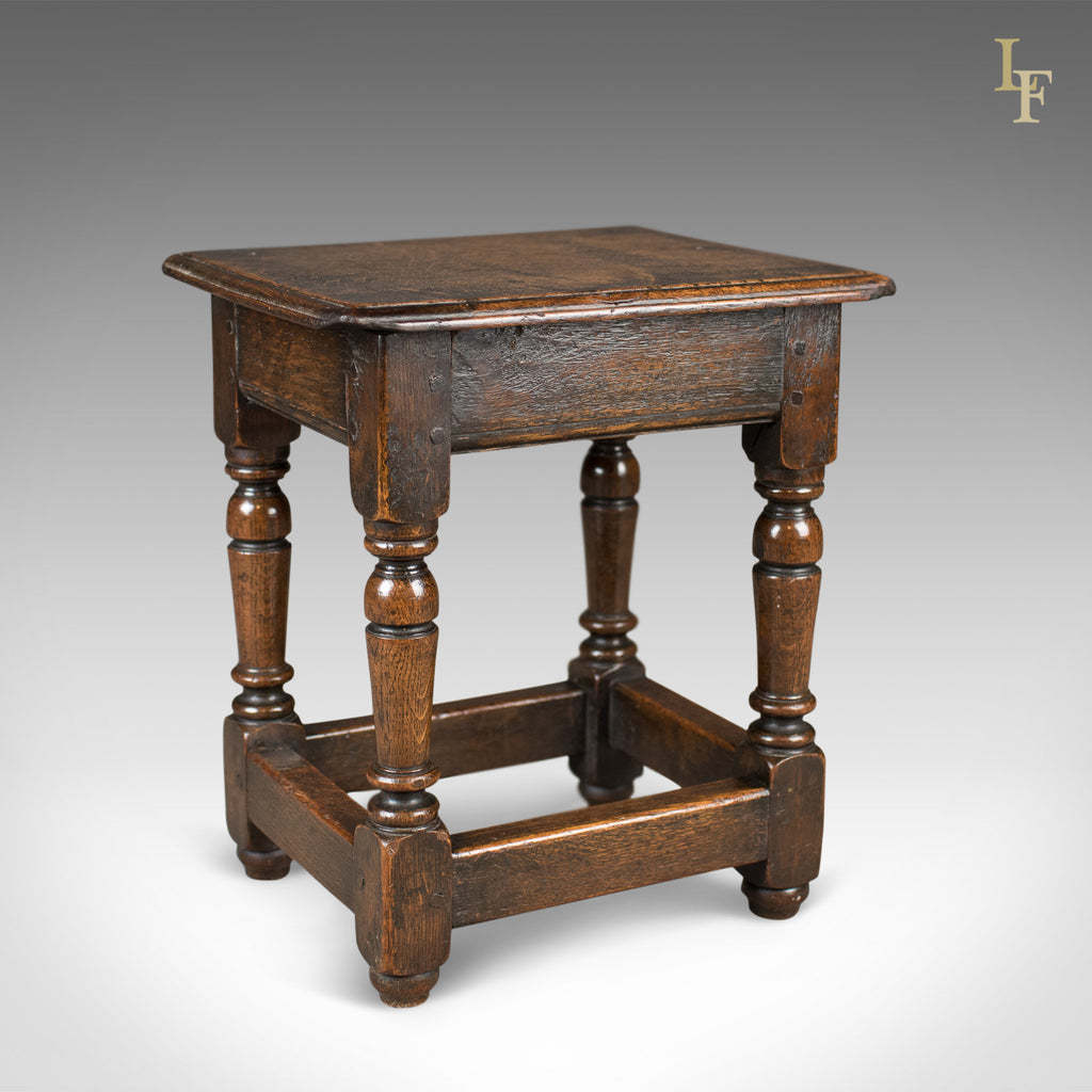 Antique Joint Stool, Victorian Jacobean Revival, English c.1850 - London Fine Antiques
