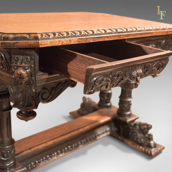 Antique Library Table, Victorian Carved Oak, Scottish c.1850 - London Fine Antiques
