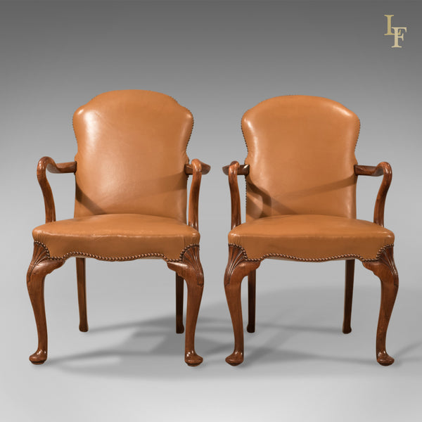 Antique Pair of Armchairs, Edwardian Leather Chairs ...