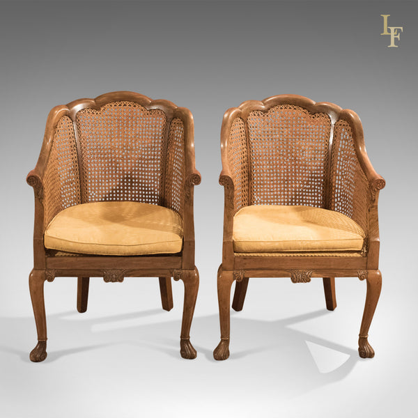 Antique Pair of Chairs, Edwardian, Bergere, Conservatory c.1910 - London Fine Antiques