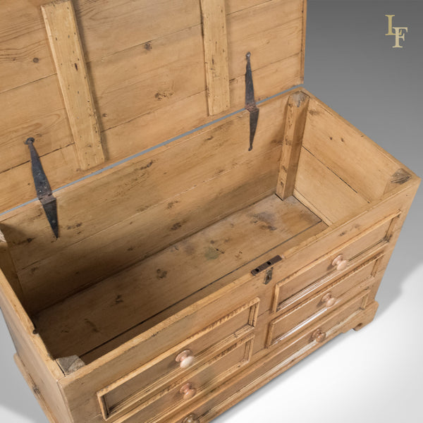 Antique Pine Mule Chest, Victorian Trunk, English c.1900 - London Fine Antiques
