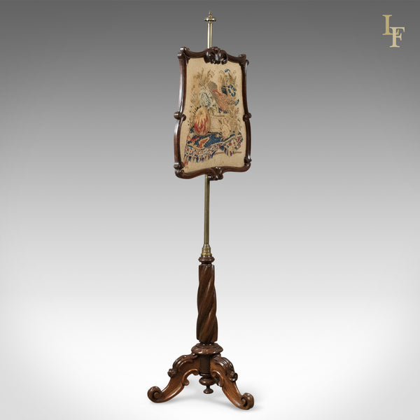 Antique Pole Screen, Early Victorian Rosewood Fire Screen - London Fine Antiques