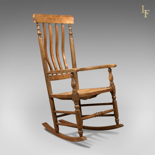 Antique Rocking Chair, Georgian Oak and Ash - London Fine Antiques