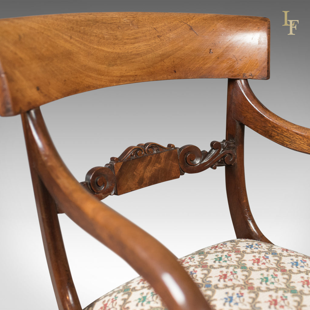 Antique Scrollimgs: Antique Scroll Arm Chair, Regency Mahogany C.1830