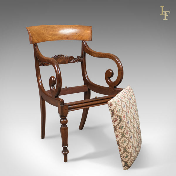Antique Scroll Arm Chair, Regency Mahogany c.1830 - London Fine Antiques