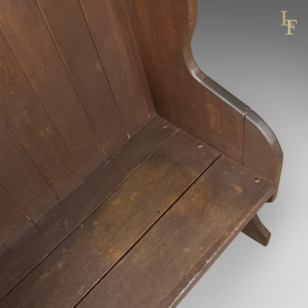 Antique Settle, 19th Century Bench, Pew, English, c.1890