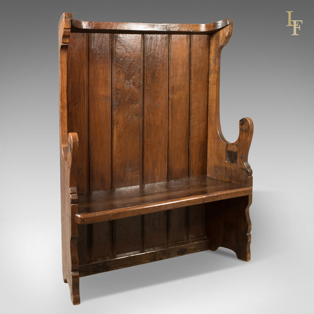 Antique Settle, Victorian Tavern Bench, c.1850 - London Fine Antiques
