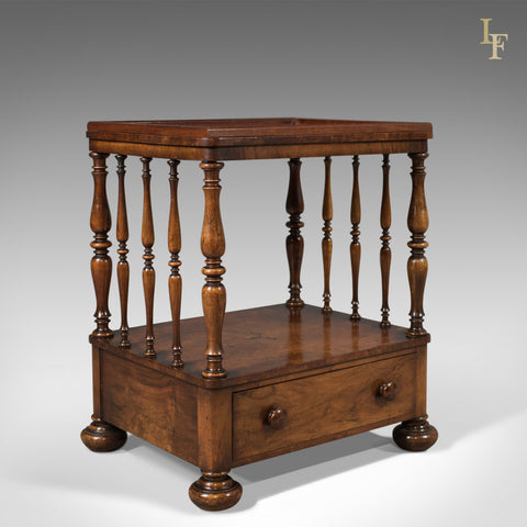 Antique Side Table, Victorian Whatnot, Burr Walnut, English c.1870