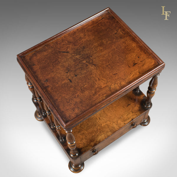 Antique Side Table, Victorian Whatnot, Burr Walnut, English c.1870 - London Fine Antiques