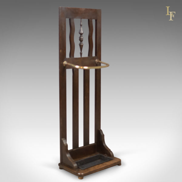 Antique Stick Stand, Edwardian Oak Hall Valet c.1910 - London Fine Antiques