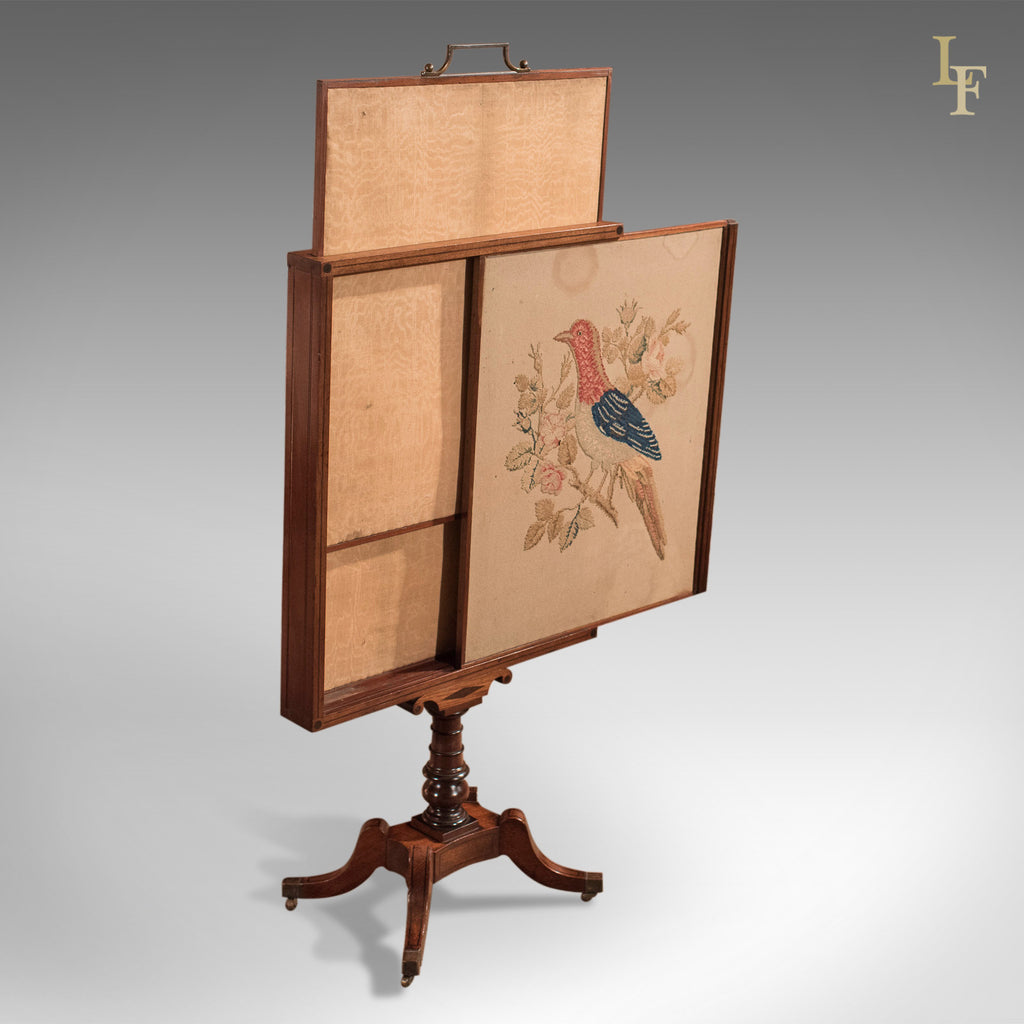 Antique Tapestry Display Stand, Regency Mahogany Needlepoint - London Fine Antiques