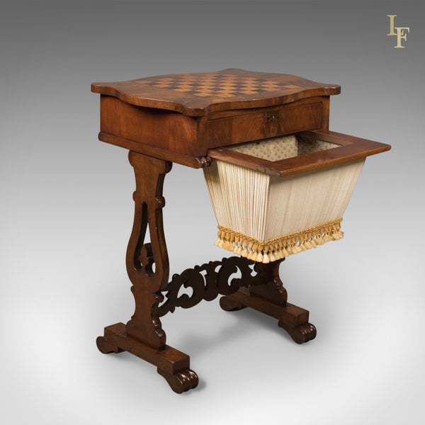 Antique Work Table, Victorian, Sewing, Chess, English c.1860 - London Fine Antiques
