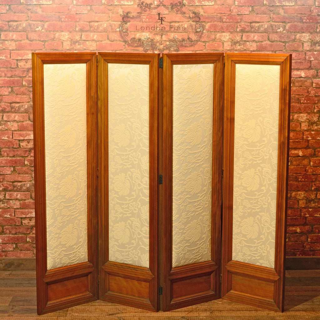 Edwardian Four Fold Walnut Screen, c.1910 - London Fine Antiques