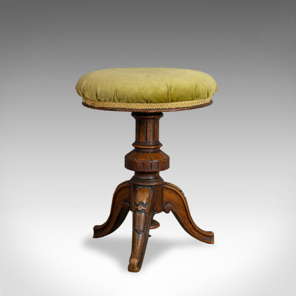 Antique Adjustable Piano Stool, English, Victorian, Walnut, Music, Seat c.1870 - London Fine Antiques