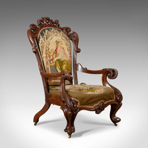 Antique Armchair, 19th Century, Victorian, Chair, Walnut, Needlepoint Circa 1850