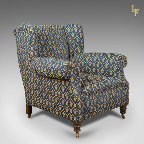Antique Armchair, Edwardian English Club Chair, c.1910