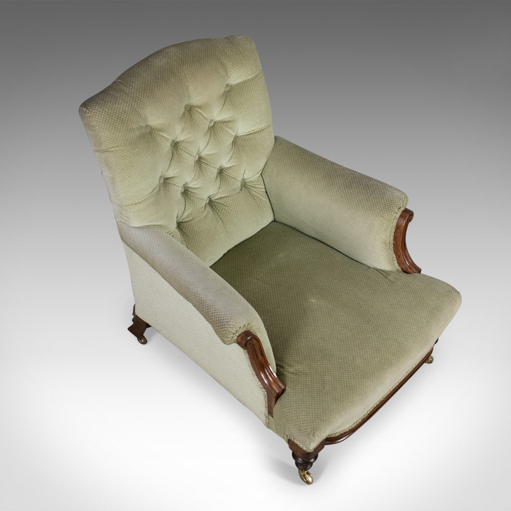 Antique Armchair, English, Victorian, Button Back, Club ...
