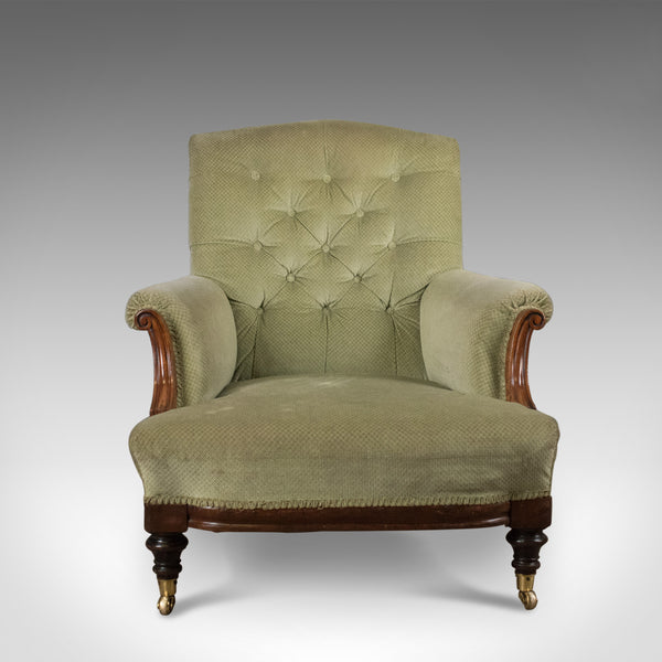 Antique Armchair, English, Victorian, Button Back, Club Chair, Circa 1890 - London Fine Antiques