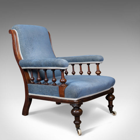 Antique Armchair, English, Victorian, Club Chair, Walnut, Blue, Circa 1880