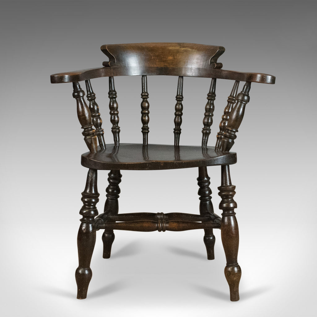 ... Antique Armchair, English, Victorian, Elm Bow Back, Smokers Captains  Chair C1900 ...