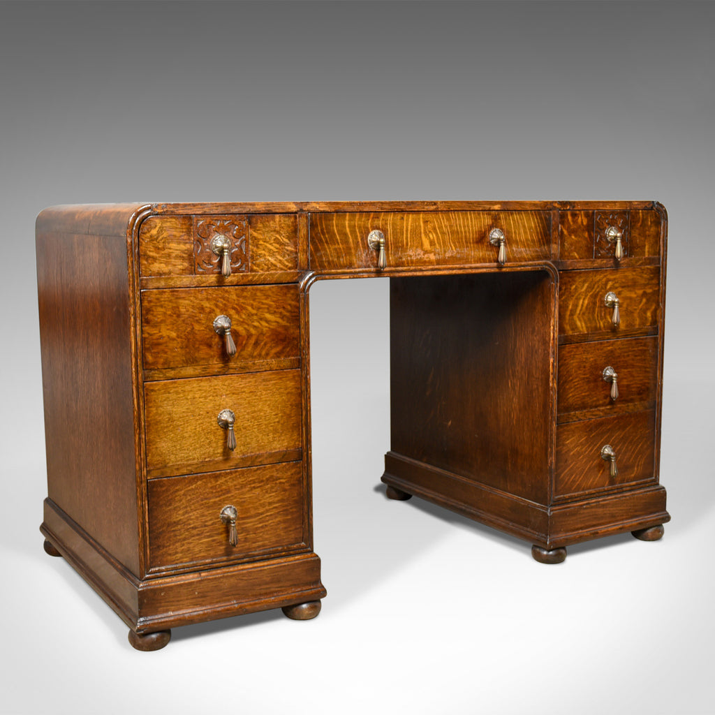 Antique Art Deco Desk, English Oak, Early 20th Century Circa 1930 - London Fine Antiques