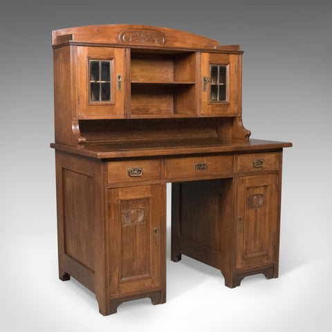 Antique Art Nouveau Desk, English, Victorian, Walnut Cabinet Liberty-esque c1900