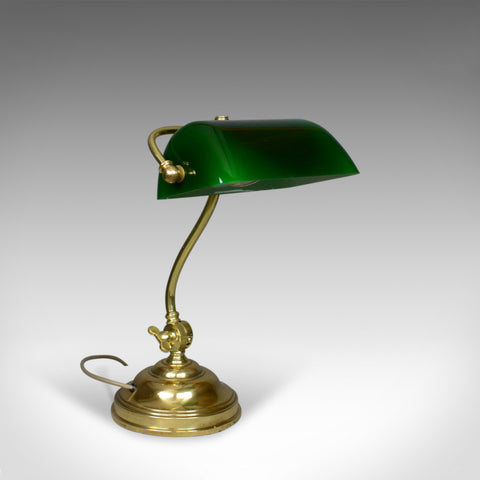 Antique Barristers Desk Lamp, Heavy, English, Brass, Glass, Edwardian Circa 1910 - London Fine Antiques