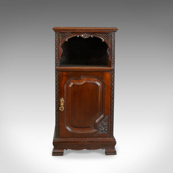 Antique Bedside Cabinet, Carved Mahogany, Nightstand, English, Circa 1910 - London Fine Antiques