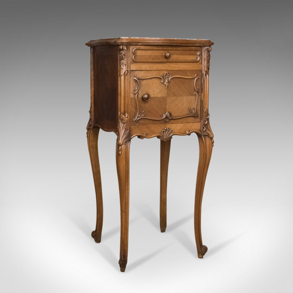 Antique Bedside Cabinet, French 19th Century, Marble Top Pot Cupboard Circa 1890 - London Fine Antiques